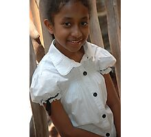 little girl stand up beside wood bar Photographic Print