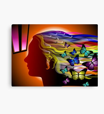 The beauty of woman around flying butterflies Canvas Print