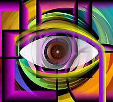 Abstract painting of eye inside a shell. by tillydesign