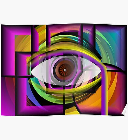 Abstract painting of eye inside a shell. Poster