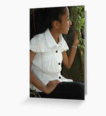 little girl sit down beside the tree Greeting Card