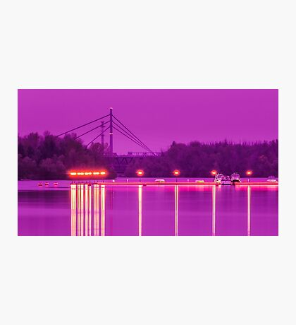 View of the marina of boats on the river Photographic Print
