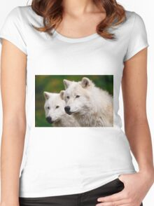 Arctic Wolf Pair Women's Fitted Scoop T-Shirt