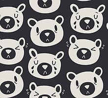 Sad Bears Black & White Pattern by Claire Stamper