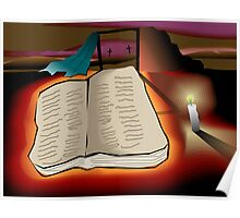 Book of holy spirit in the light of candle Poster