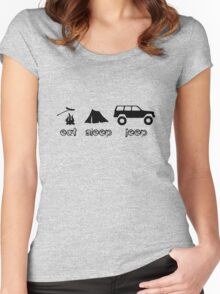 Eat sleep jeep screenprint fun geek funny nerd Women's Fitted Scoop T-Shirt