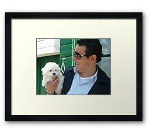 Burano Man with Little White Dog! Framed Print