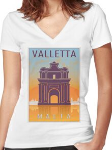 Valletta Vintage poster Women's Fitted V-Neck T-Shirt