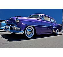 Purple Chevrolet Two Ten at night. Photographic Print