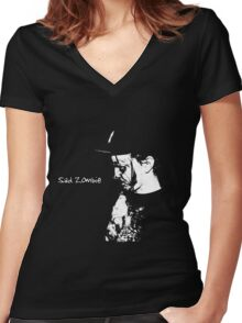 Sad Zombie (Dark Shirts Only) Women's Fitted V-Neck T-Shirt