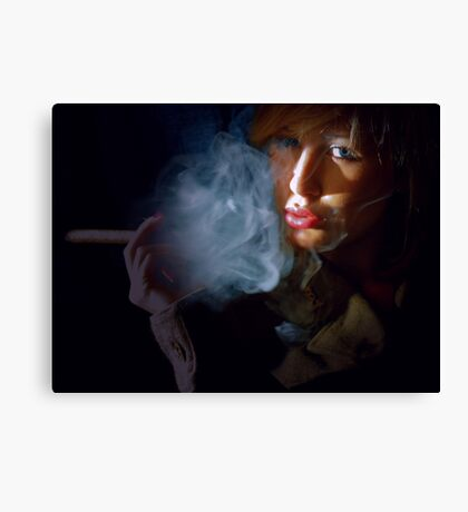 Blonde beauty in army jacket smoking cigar Canvas Print