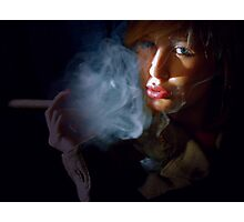 Blonde beauty in army jacket smoking cigar Photographic Print
