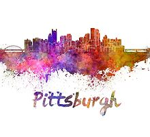 Pittsburgh skyline in watercolor by paulrommer
