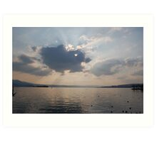 Clouds over Lake zurich Art Print