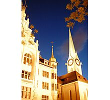 zurich church at night Photographic Print