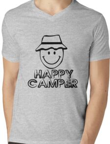 Happy camper geek funny nerd Mens V-Neck T-Shirt