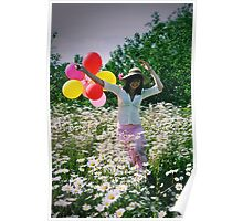 Smiling woman with colourful balloons runs through filed of flowers Poster