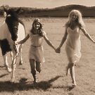Two pretty young women hold hands as they run with a horse through a field. by imageunlimited