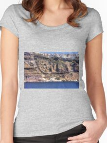Cliffs of Santorini Women's Fitted Scoop T-Shirt