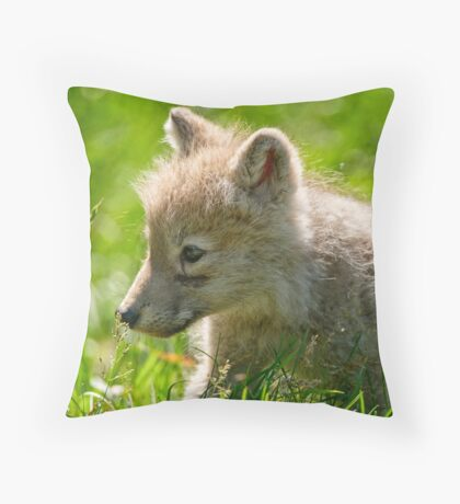 Just smelling the flowers _ Arctic Wolf Pup Throw Pillow