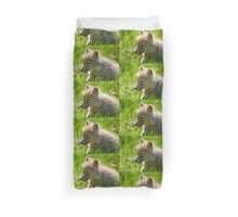 Just smelling the flowers _ Arctic Wolf Pup Duvet Cover
