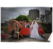 Bride tries to hitch a lift as female chauffeur sits on wheel arch of broken down car. Poster