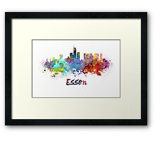 Essen skyline in watercolor Framed Print