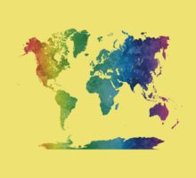 World map in watercolor rainbow One Piece - Short Sleeve