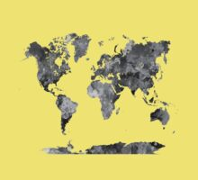 World map in watercolor gray One Piece - Short Sleeve