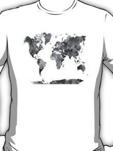 World map in watercolor gray T-Shirt