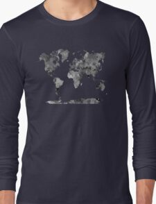 World map in watercolor gray Long Sleeve T-Shirt