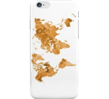 World map in watercolor orange iPhone Case/Skin