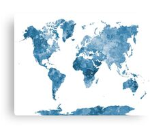 World map in watercolor blue Canvas Print
