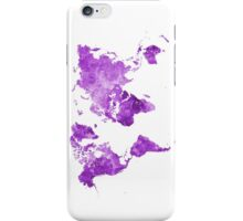 World map in watercolor purple iPhone Case/Skin