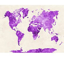 World map in watercolor purple Photographic Print