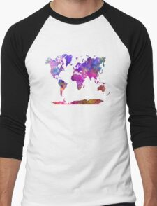 World map in watercolor  Men's Baseball ¾ T-Shirt