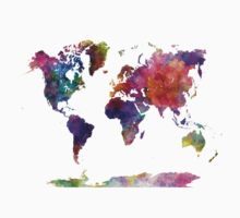 World map in watercolor  Kids Tee