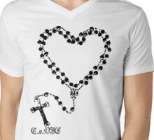 Rosary Heart Mens V-Neck T-Shirt