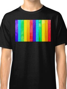 Abstract Rainbow Wood Fence Classic T-Shirt