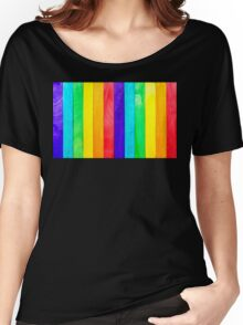 Abstract Rainbow Wood Fence Women's Relaxed Fit T-Shirt