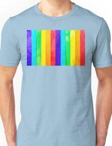 Abstract Rainbow Wood Fence Unisex T-Shirt
