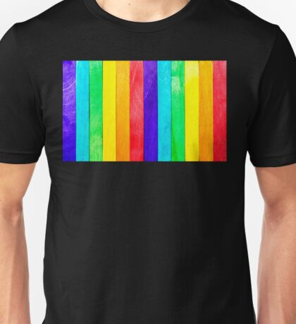 Abstract Rainbow Wood Fence Unisex T-Shirt