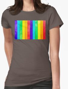 Abstract Rainbow Wood Fence Womens Fitted T-Shirt