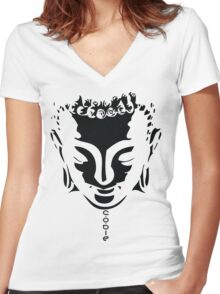 Buddha Face Women's Fitted V-Neck T-Shirt