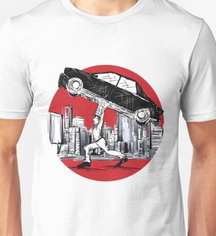 Super Pedestrian Lifting A Car Unisex T-Shirt