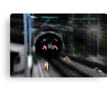 Caboose enters tunnel Canvas Print