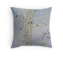 Winter Wonderland-Detail of trees and deer Throw Pillow