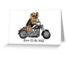 Yorkie Biker Greeting Card