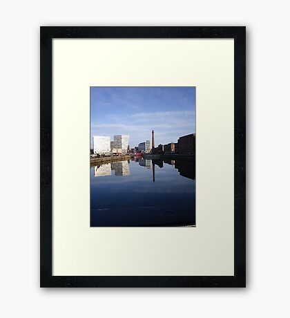 Liverpool Docks mirror landscape Framed Print