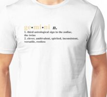 Zodiac Definitions: Gemini Unisex T-Shirt
